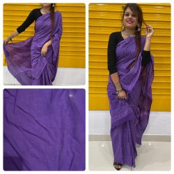 Amethyst soft cotton malmal sarees with blouse