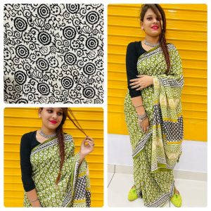 Green cotton sarees with price