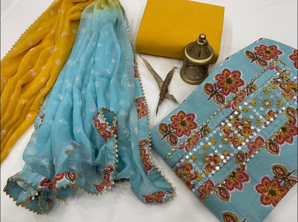 Cyan hand embroidery suit design with chiffon dupatta