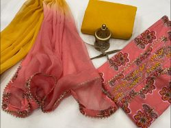 Pink And amber gota work suit WIth chiffon dupatta online