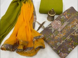 Brown and amber gota patti embroidery suits with chiffon dupatta