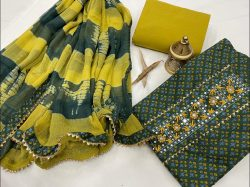 green and lime  embroidery cotton suit with chiffon dupatta
