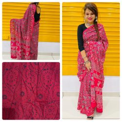 Cherry Red daily wear cotton sarees with blouse