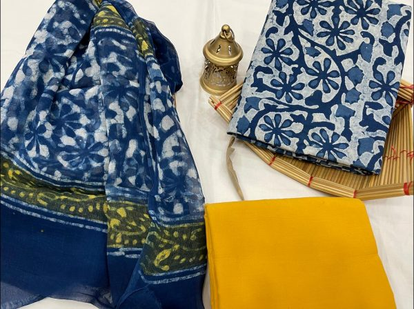 Blue and yellow cotton suits with pure dupatta