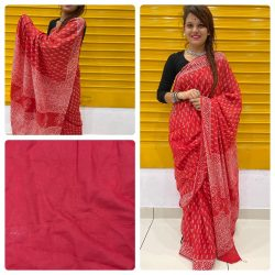 Red daily wear cotton sarees with blouse