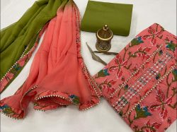Pink and green floral print gota work suits With chiffon dupatta online india