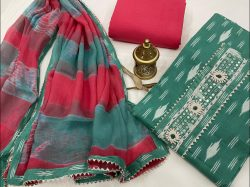 Teal green embroidered salwar kameez dress material