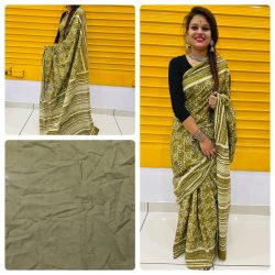 Olive daily wear cotton saree With blouse online