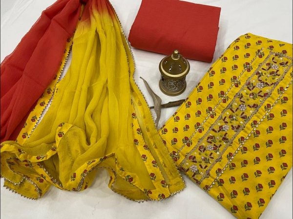 Yellow and orange embroidery suit with price with chiffon dupatta