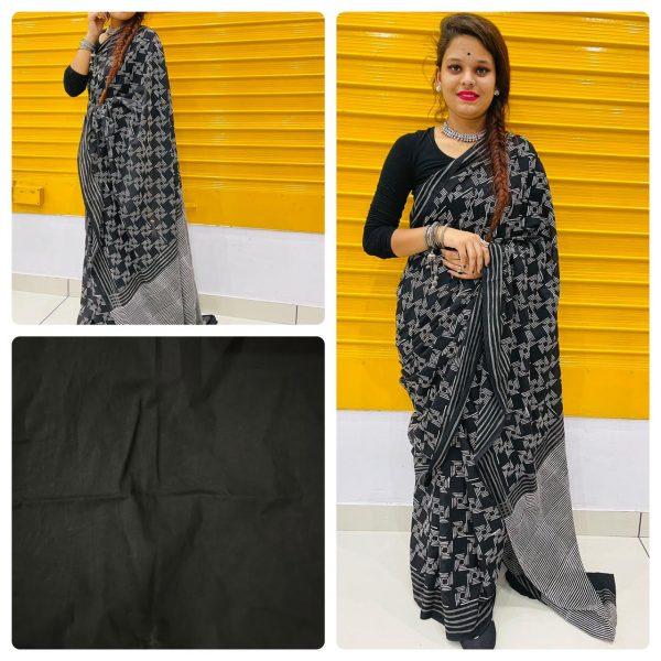 Black mulmul cotton sarees online india