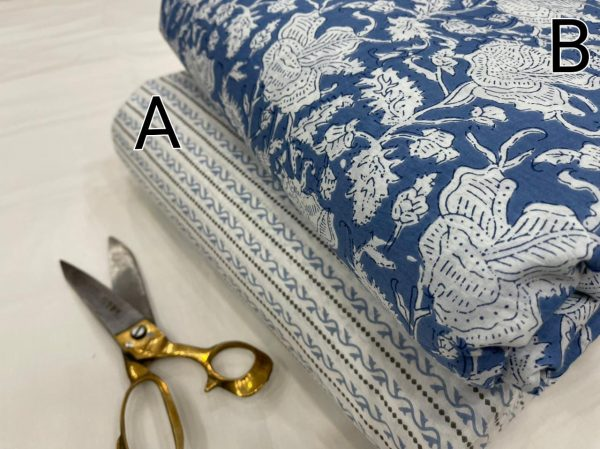 Blue and white cotton running material set