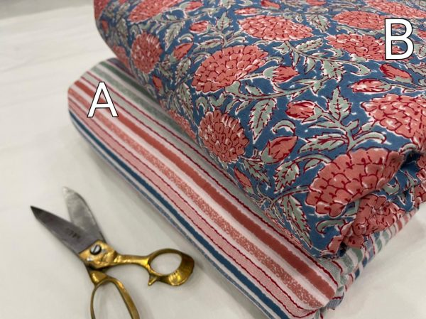 Blue floral print cotton running material set