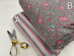 Cyan floral print pure cotton Running fabric