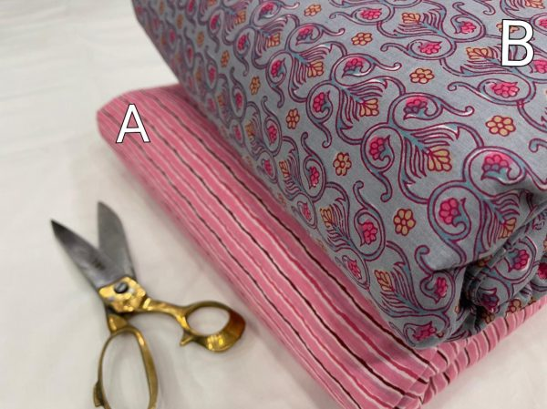 Pink and gray Pigment print Pure cotton running fabric