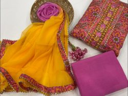magenta and amber embroidered salwar suit dress material