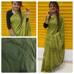 Green cotton saree With blouse collection