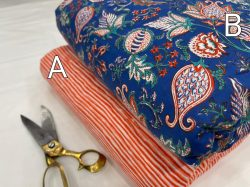 Red and blue cotton print running material