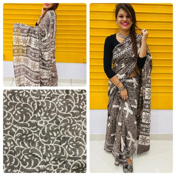 Taupe daily wear cotton saree online