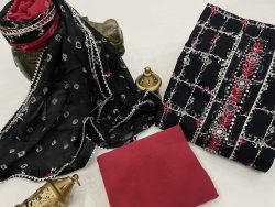 Black and Crimson cotton embroidery suit with chiffon dupatta