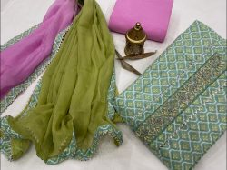 Dull green and magenta embroidery suit with price with chiffon dupatta