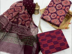Rouge cotton printed dress material with chiffon dupatta