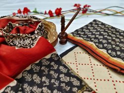 Black and beige chanderi suit with dupatta