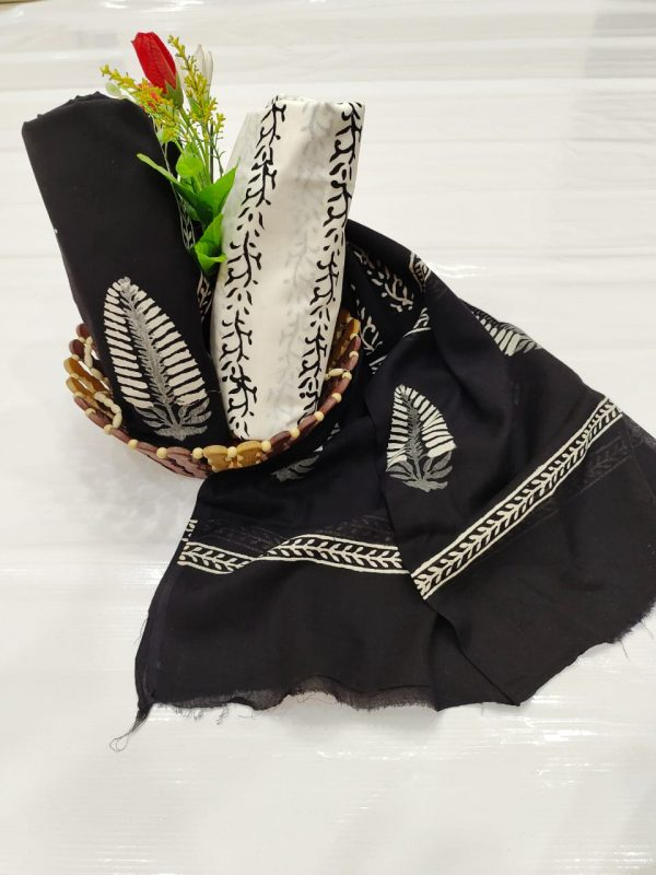 Black and white unstitched cotton suit with dupatta
