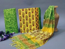 Yellow and Green cotton suit with heavy dupatta