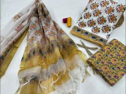 Goldenrod amber And White cotton suit with heavy dupatta