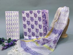 Amethyst And White cotton suit with heavy dupatta