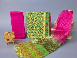 magenta and Green cotton suit with organza dupatta