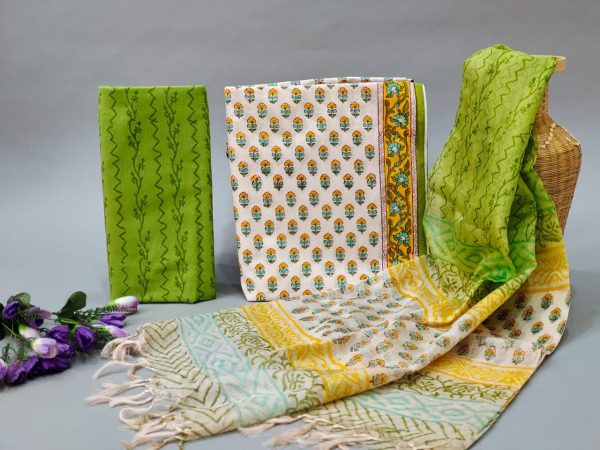 Green and white cotton jacquard suit with Kota silk dupatta