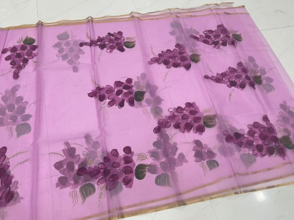 Orchid organza silk saree With blouse online