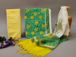 Green and Yellow cotton suit with kota silk dupatta