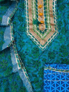 Azure Gota cotton suit with Chanderi cotton dupatta