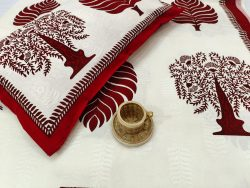 White and maroon Cotton double size bedsheet 90/108 inch