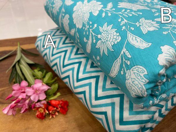 Teal Pure cotton Running fabric
