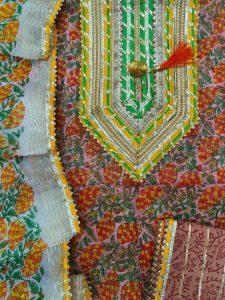 Dark Salmon embroidered salwar suit with Chanderi cotton dupatta