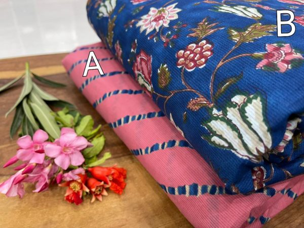 Pink and blue floral print Pure cotton running material set