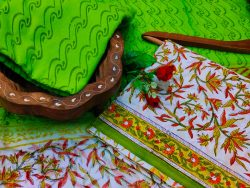 Green floral print printed cotton suit with chiffon dupatta