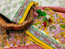 Amber and white floral print jaipuri cotton suits with chiffon dupatta