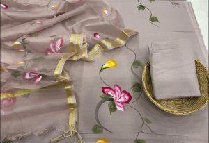 Desert sand floral print salwar suits with kota silk dupatta