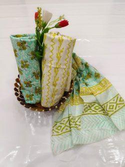 Cyan floral print cotton salwar kameez with price