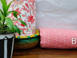Pink and white florl print cotton running fabric