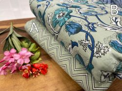 White floral print cotton running material set