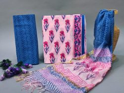 Pink and Azure cotton suit with heavy dupatta