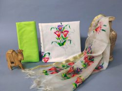 green and white office wear ladies Cotton suits with organza dupatta