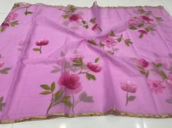 Orchid organza silk saree With blouse collection