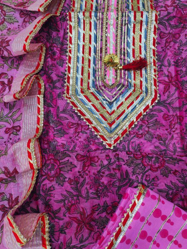 Byzantine embroidered salwar suit with Chanderi cotton dupatta