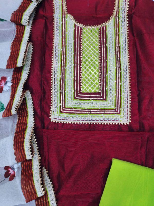 Burgundy embroidery designs salwar kameez with Chanderi cotton dupatta
